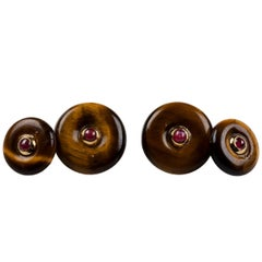 Double Round Cufflinks in Tiger's Eye and Gold