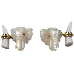 Elephant Gold Cufflinks in Mother-of-Pearl and White Agate
