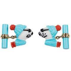 Polar Bear Cufflinks in White Coral Turquoise and Gold