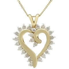 Vintage 1980s Diamond and 18 Karat Yellow Gold Heart Pendant
