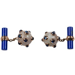 Submarine Mine Gold Cufflinks in Jade, Sapphires and Lapis Lazuli