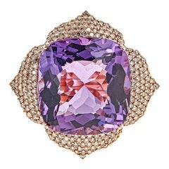25.89 Carat Cushion Amethyst, 1.50 Carat Champagne Diamond and Rose Gold Ring