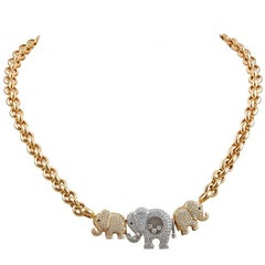 Chopard Diamond Three Elephant Necklace
