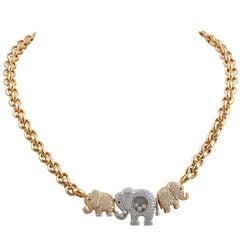 Chopard Diamond Three Elephant Necklace