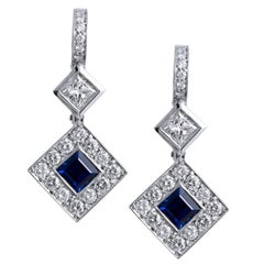 H & H 1.27 Carat Square Blue Sapphire and Princess Cut Diamond Dangle Earrings