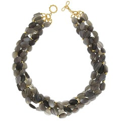 Multi Strands Grey Moonstone Necklace with Gold Balls