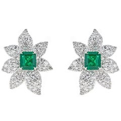 5.00 Carat Emerald Cut Emerald with 7.09 Carat Diamond White Gold Earrings