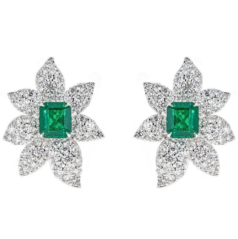 5.00 Carat Emerald Cut Emerald with 7.09 Carat Diamond White Gold Earrings