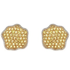 19.46 Carat Yellow Sapphire and 0.69 Carat Diamond Yellow and White Gold Earring
