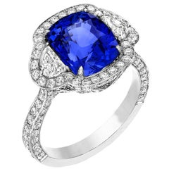 5.29 Carat Cushion Ceylon Blue Sapphire Diamond 18 Karat Gold Engagement Ring