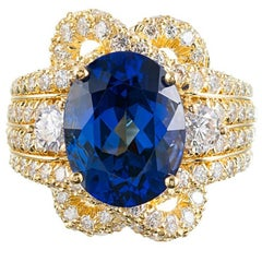 Henry Dunay 6.41 Carat Oval Tanzanite Diamond Ring