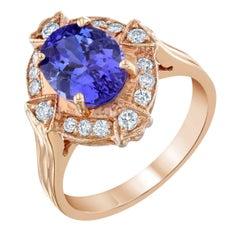 2.95 Carat Tanzanite Diamond Rose Gold Ring