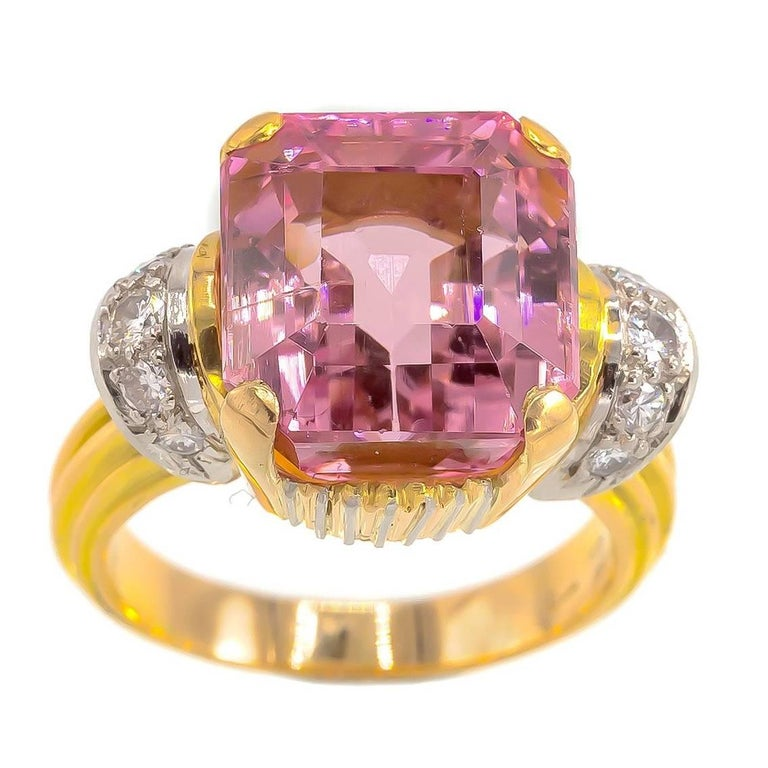 Large Pink Cushion Tourmaline Ring with Accent Diamonds Iconic of the 1950's