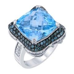 13.82 Carat Blue Topaz Diamond Cocktail White Gold Ring