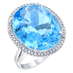 29.83 Carat Blue Topaz Diamond Cocktail White Gold Ring