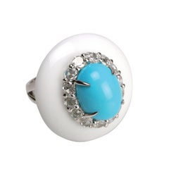 Youmna 18 Karat Gold with White Agate Turquoise and Diamonds Capri Cocktail Ring