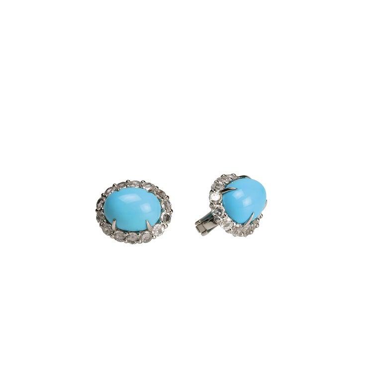 Youmna Fine Jewellery 18 Karat White Gold w/ Turquoise & Diamonds Capri Earrings