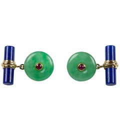 Round Gold Cufflinks in Jade with Cylindrical Lapis Lazuli Toggle