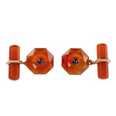 Octagonal Gold Cufflinks in Carnelian with Hexagonal Toggle