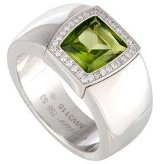 Cartier La Dona Diamond and Peridot White Gold Ring