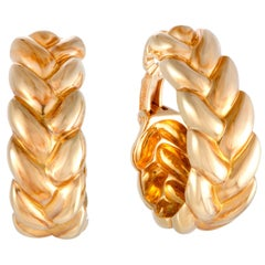 Cartier Yellow Gold Braided Oval Hoop Clip-On Earrings