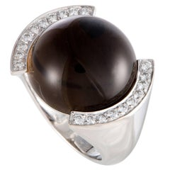 Cartier Diamond and Smoky Quartz White Gold Cabochon Ring