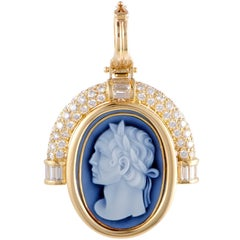 Handmade German Diamond Yellow Gold Cameo Pendant