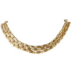 Tiffany & Co. Diamond Yellow Gold Three-Strand Collar Necklace