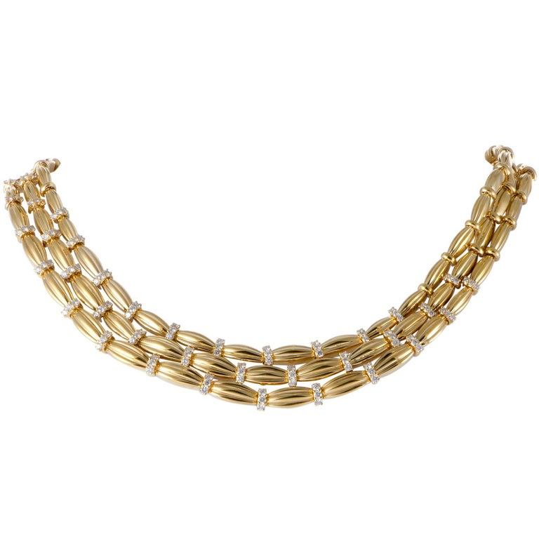 Tiffany & Co. Diamond Yellow Gold Three-Strand Collar Necklace For Sale