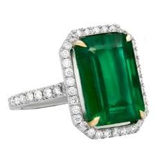 10.10 Carat Emerald Cut Green Emerald Ring