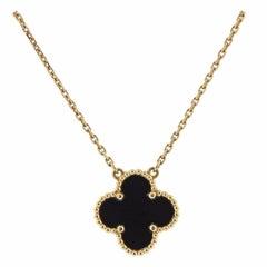Van Cleef & Arpels Vintage Alhambra Onyx Gold Pendant Necklace
