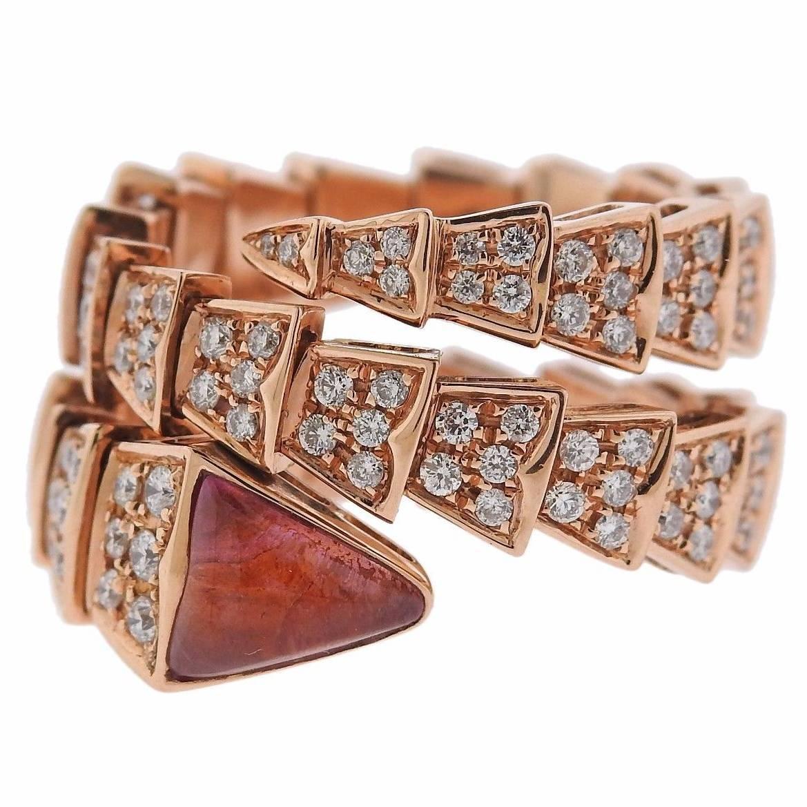 bulgari serpenti diamond tourmaline 18 karat rose gold ring