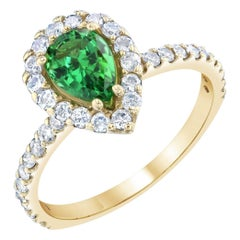 1.70 Carat Pear Cut Tsavorite Diamond Yellow Gold Ring