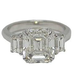 5.02 Carat Emerald Cut Diamond GIA Certified Platinum Engagement Ring