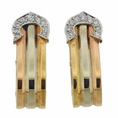 Cartier Double CC Diamond Gold Earrings