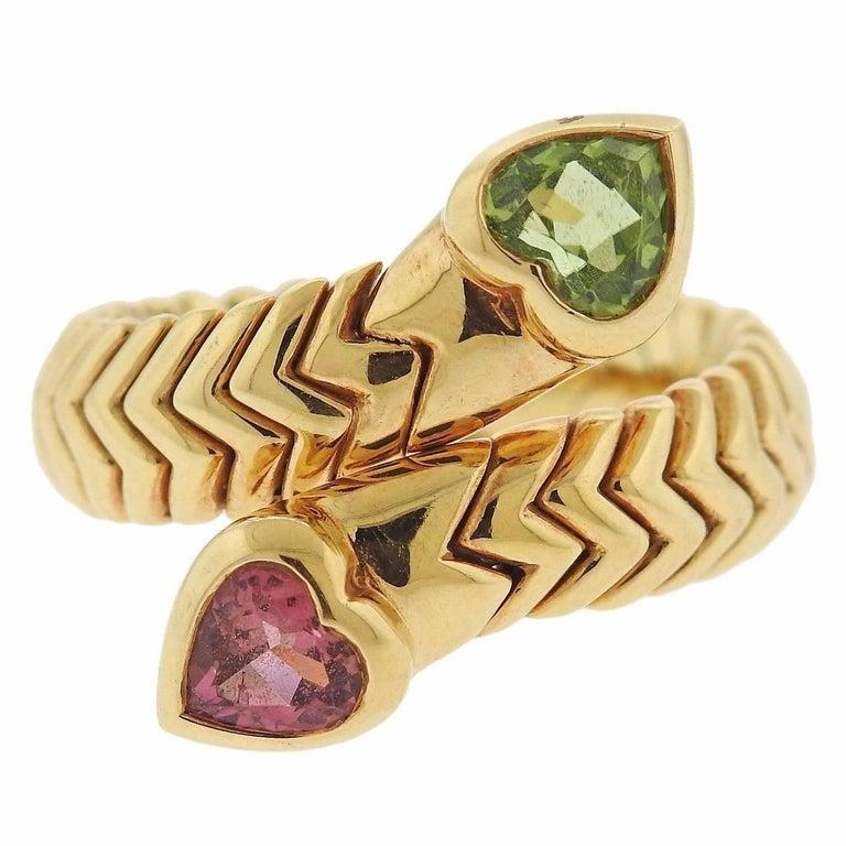 Bulgari Tubogas Tourmaline Peridot Gold Ring