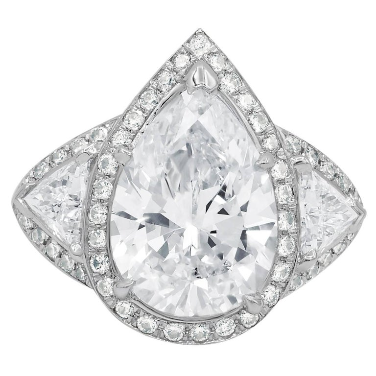 5.10 Carat GIA Certified Pear Shaped Diamond Engagement Ring