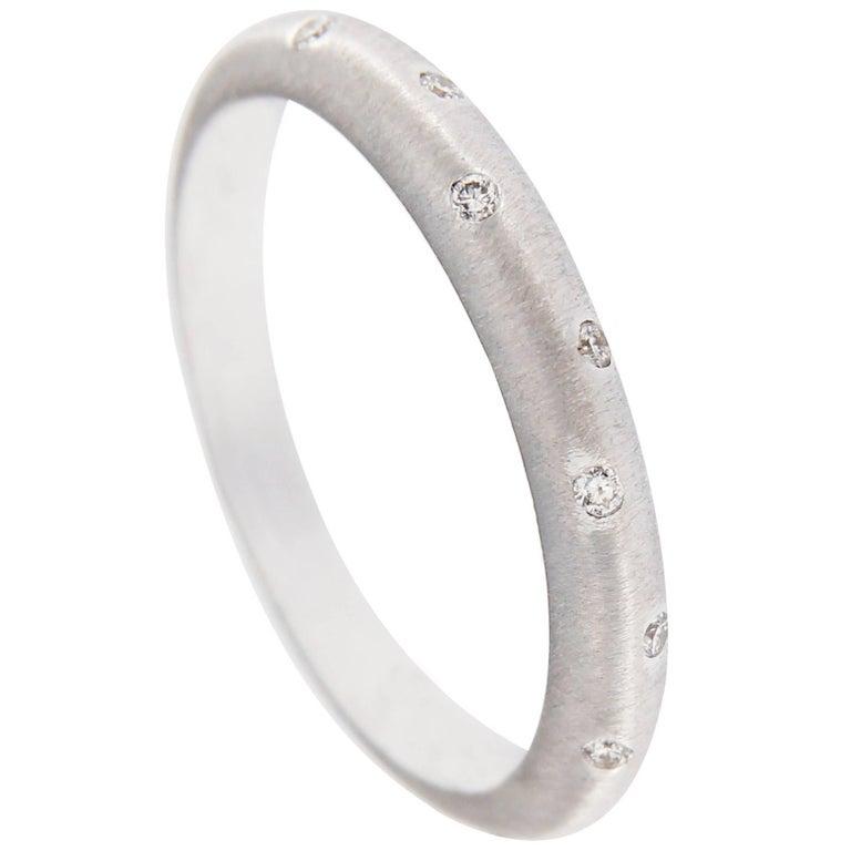 Jona White Diamond 18 Karat Brushed White Gold Band Ring For Sale
