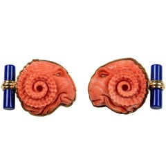 Ram Cufflinks in Mediterranean Coral and Lapis Lazuli