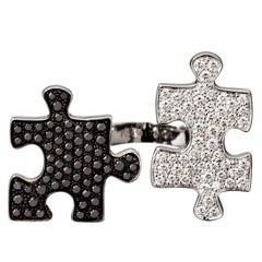 """Akillis Puzzle """"Toi Et Moi"""" Ring 18k White Gold White and Black Diamonds"""