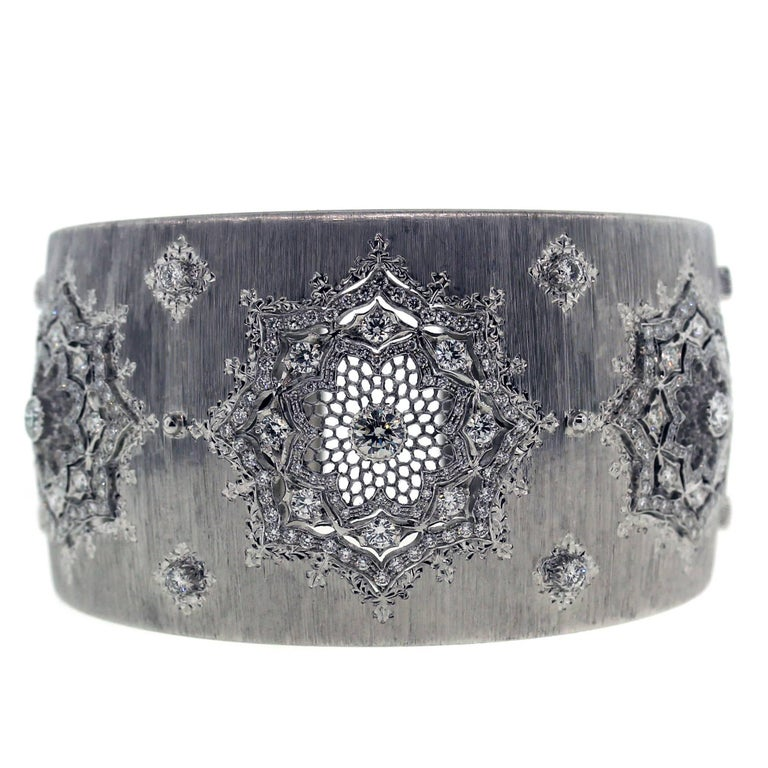 Buccellati White Gold and Diamond Cuff Bracelet