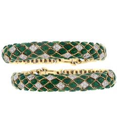 David Webb Green Enamel Diamond Gold Snake Bracelet Set