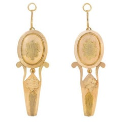 Antique Gold Poissarde Hoop Earrings