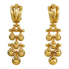 1940s Gold Earrings with Articulated Ball Pendants