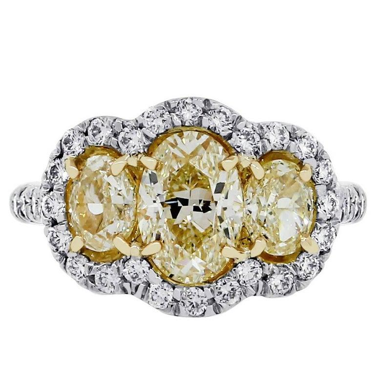 Fancy Yellow Oval Diamond Ring