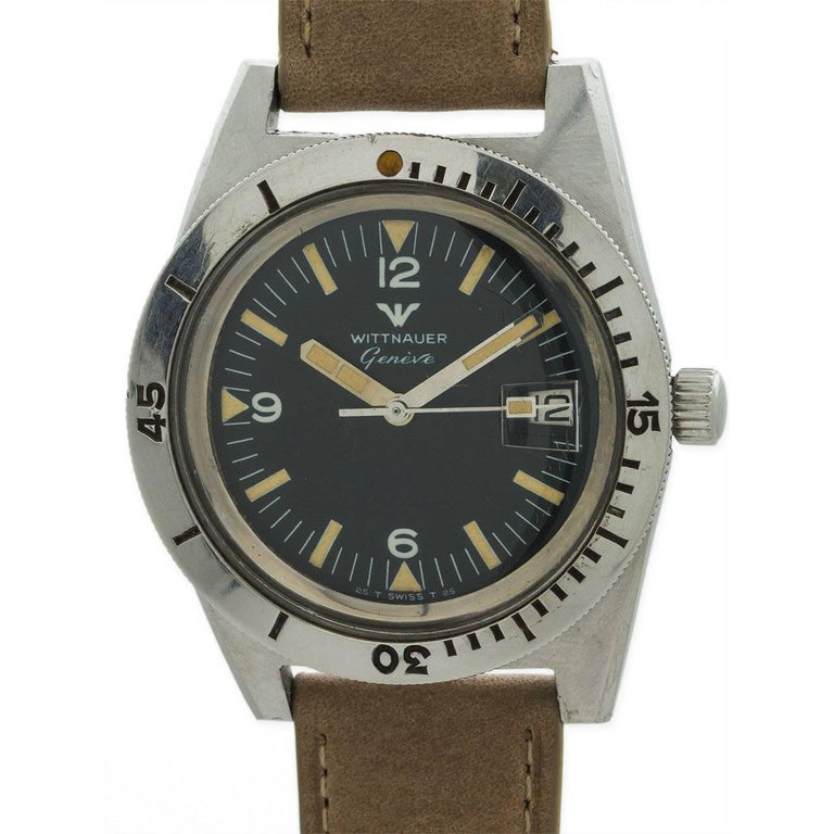 Wittnauer Stainless Steel Diver's manual wind wristwatch, circa 1960s
