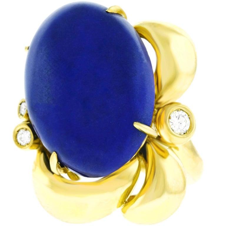 Meister Modernist Lapis and Diamond Set Gold Ring