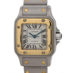 Cartier Ladies stainless steel yellow gold Santos Galbe Automatic wristwatch