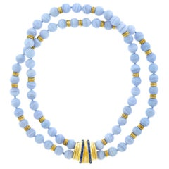 Blue Agate Bead Necklace with a Sapphire Set Gold Clasp
