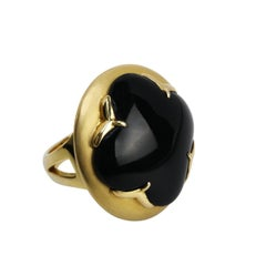 Youmna Fine Jewellery 18 Karat Yellow Gold with Onyx Gothic Cocktail Ring